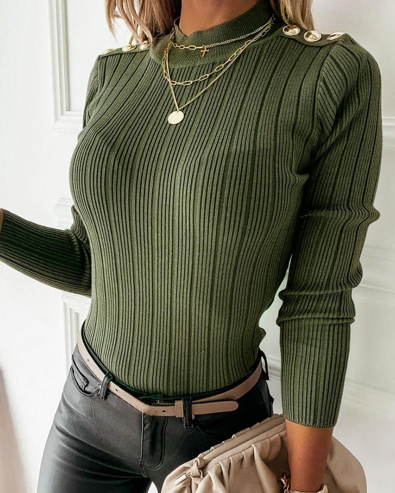 Button Design Long Sleeve Knit Sweater thumbnail