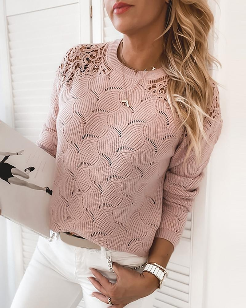 Guipure Lace Hollow Out Long Sleeve Sweater thumbnail