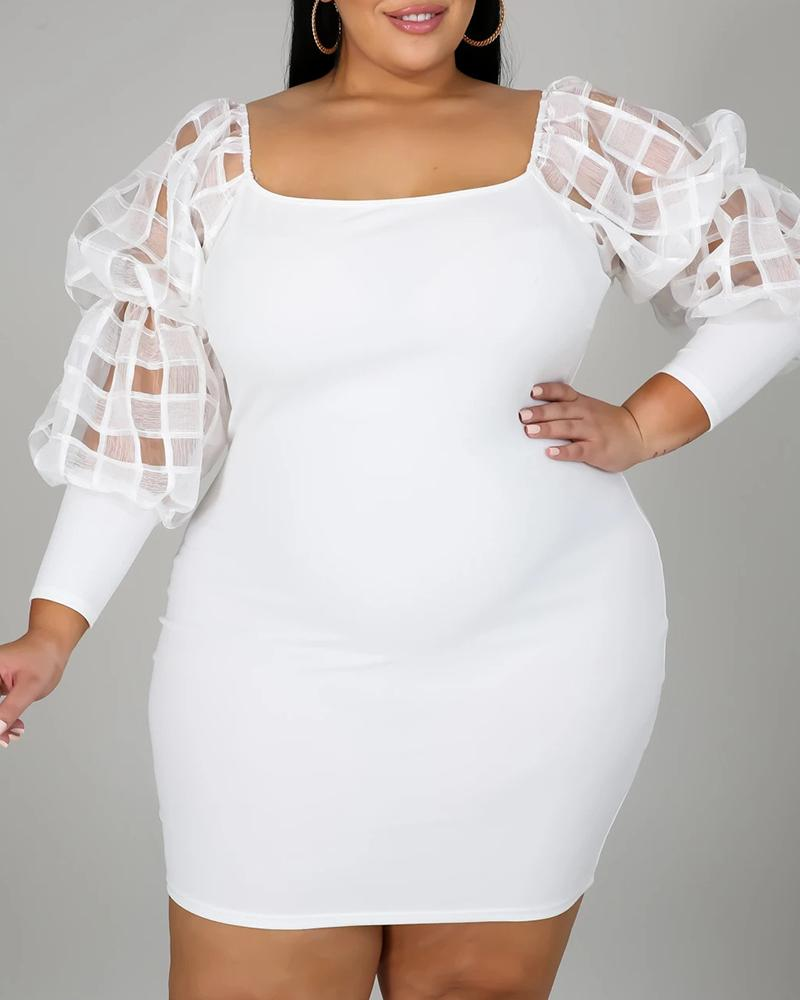 Plus Size Sheer Mesh Lantern Sleeve Bodycon Dress