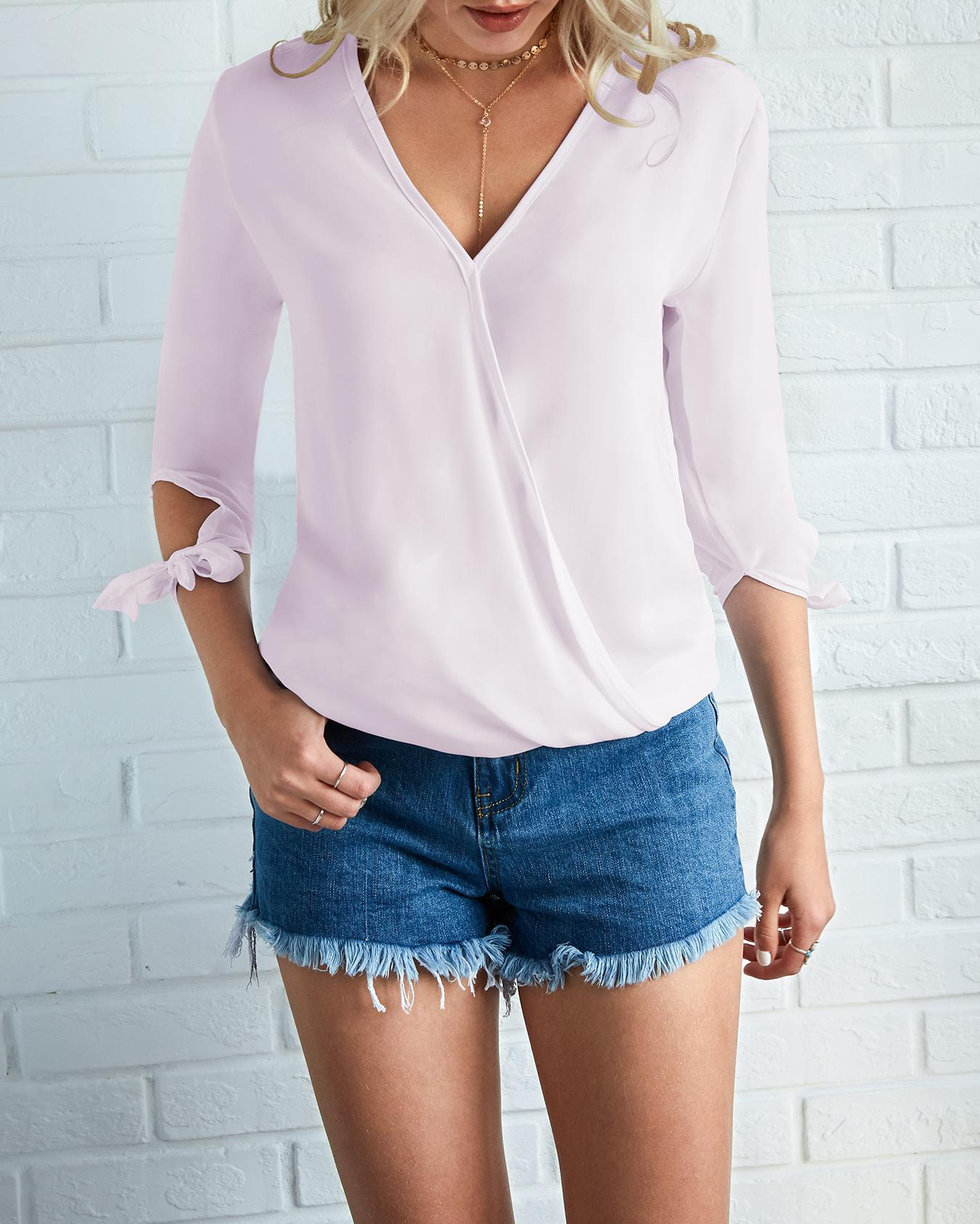 Joyshoetique coupon: Trendy Crisscross Tied Sleeve Casual Blouse