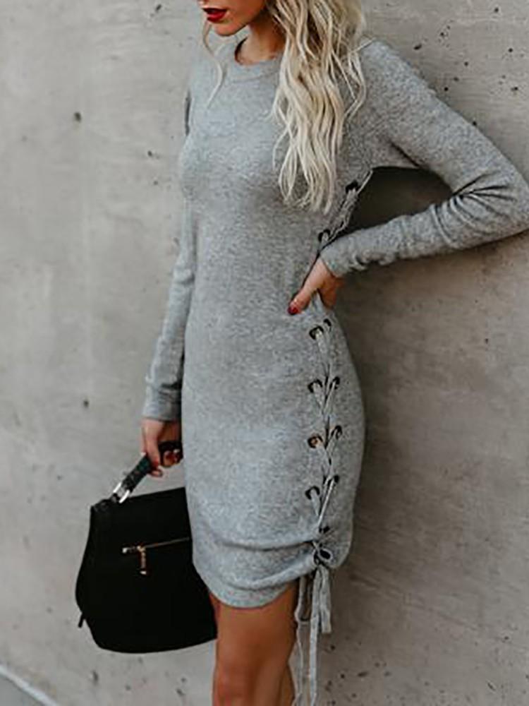 Trendy Side Lace-up Long Sleeve Dress