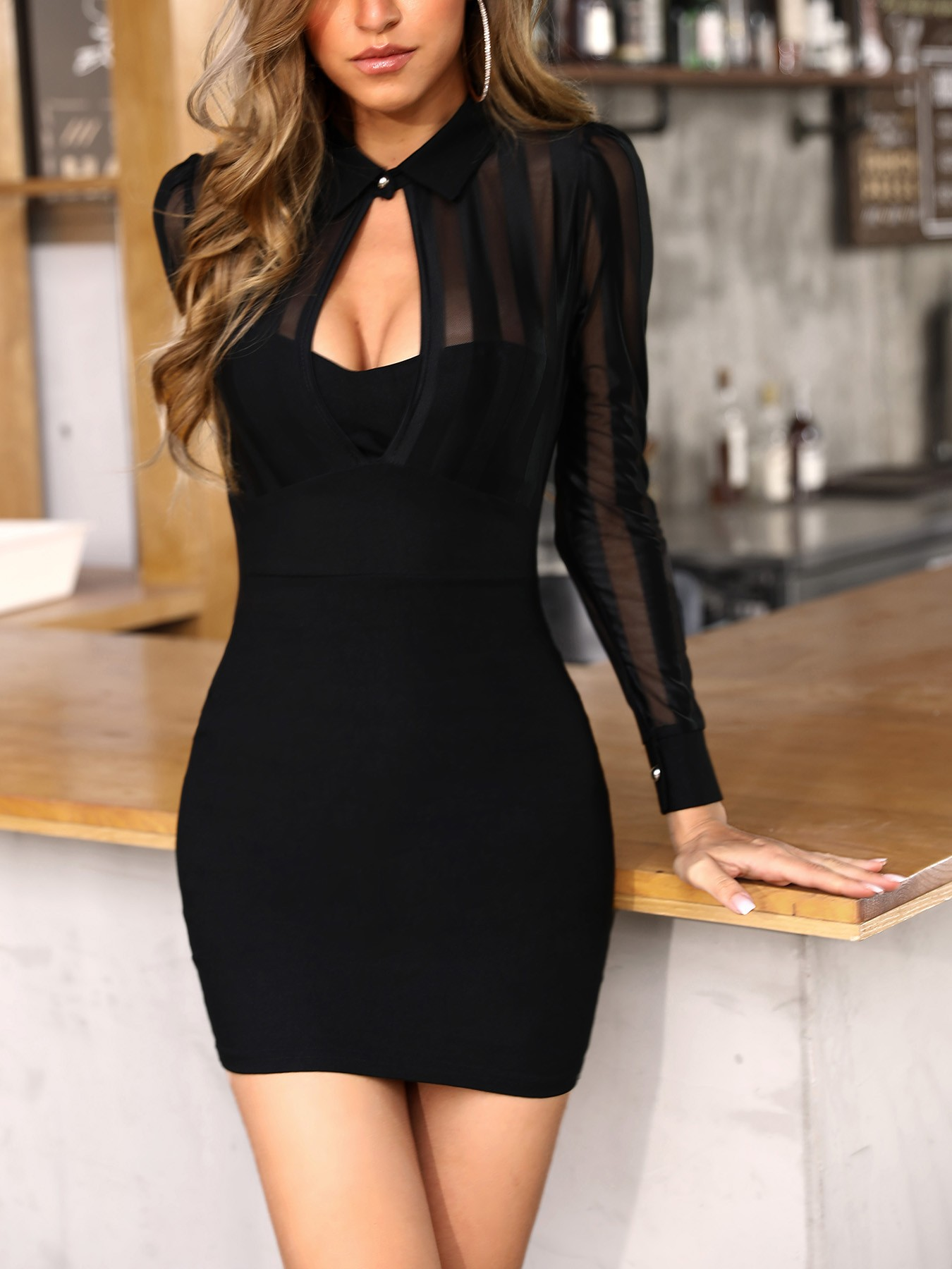 boutiquefeel / Sheer Mesh & Stripes Keyhole Front Bodycon Dress
