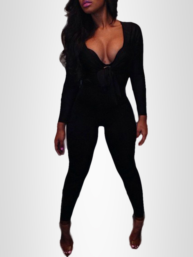 9e4d62be7c7 Fashion Sexy V Neck Tight Black Jumpsuit Online. Discover hottest trend  fashion at chicme.com