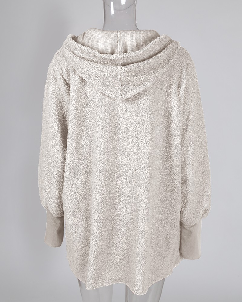Fluffy Hooded Open Front Teddy Coat &