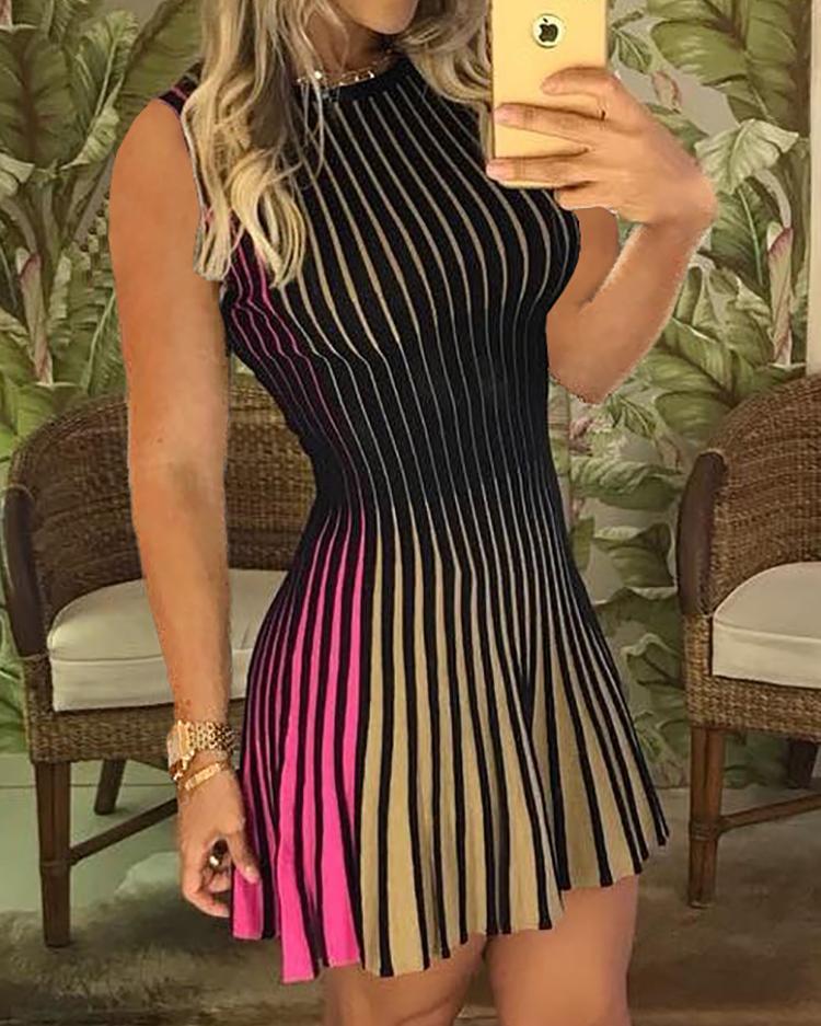 Sleeveless Multicolored Stripes Mini Dress