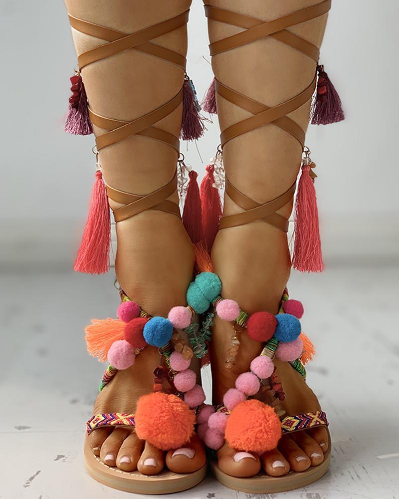 Pom Pom Tassel Bandage Sandals