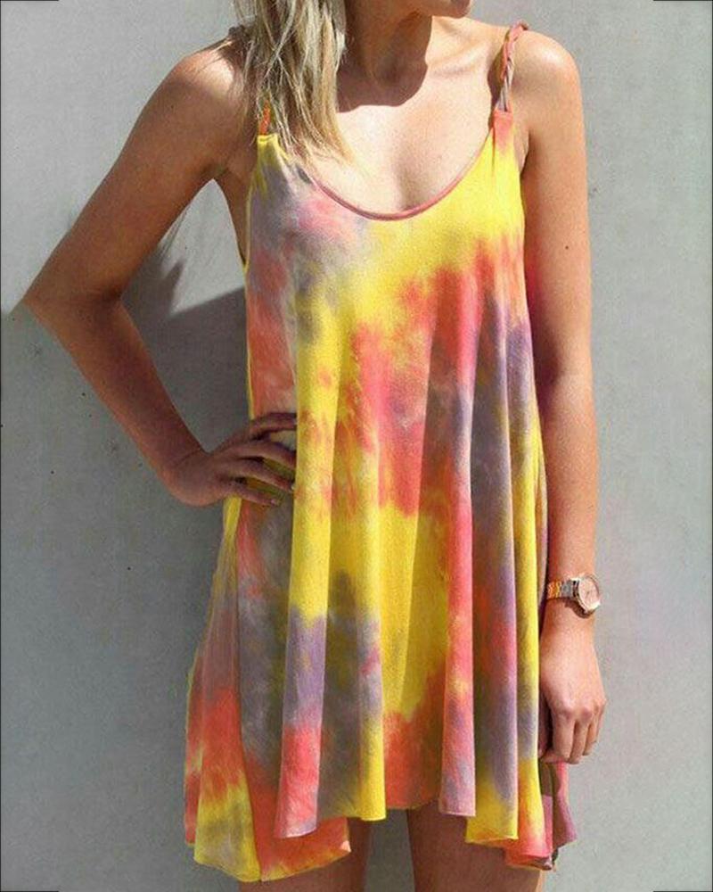 Tie Dye Print U-neck Casual Dress thumbnail