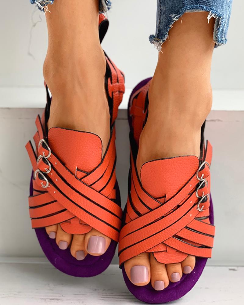 Eyelet Buckled Bandage Colorblock Flat Sandals thumbnail