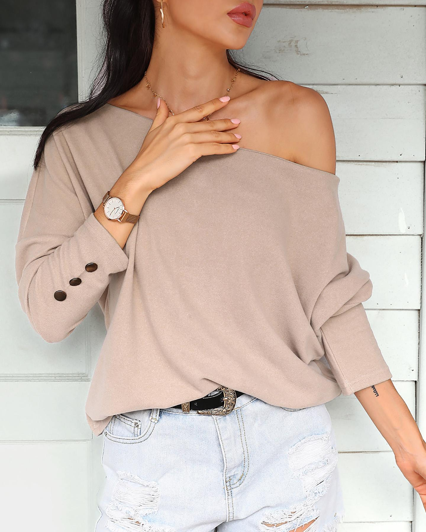 Batwing Long Sleeve Buttoned Blouse thumbnail
