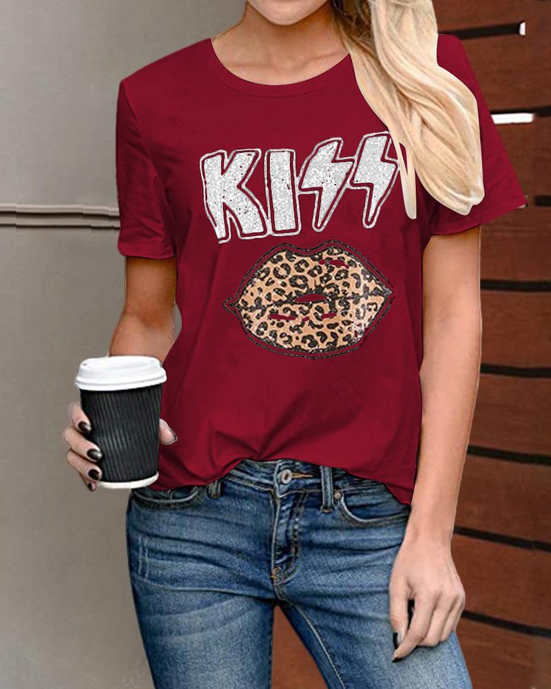 Cheetah / Lip / Letter Print Casual  T-shirt thumbnail