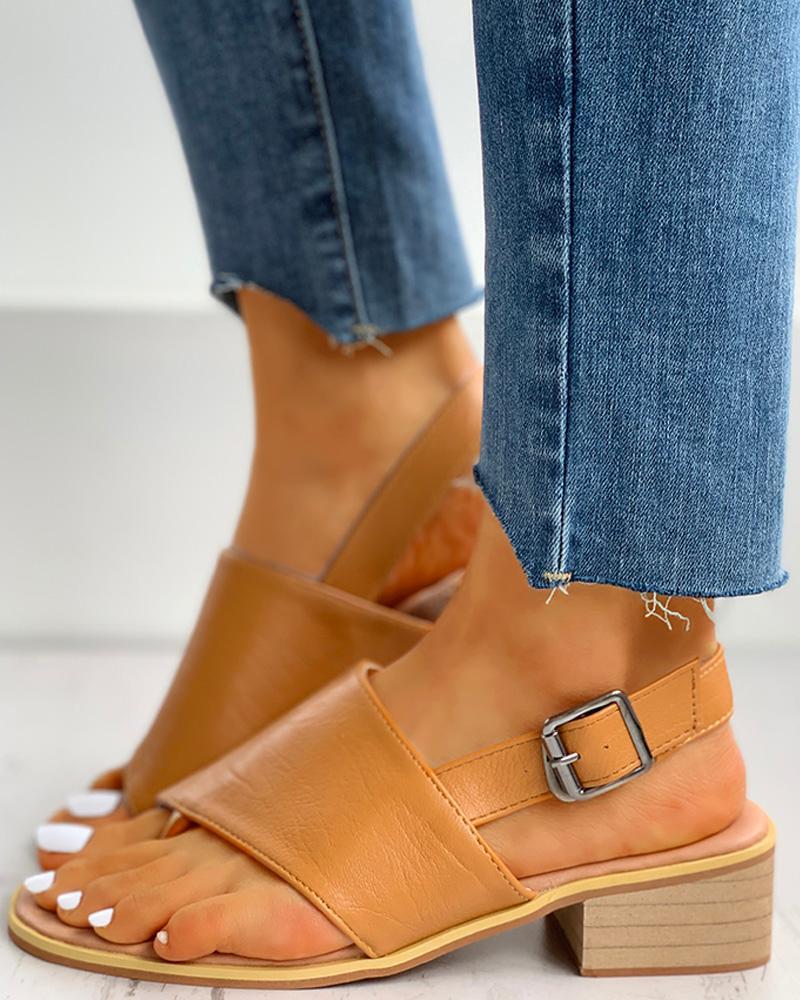 Toe Post Slingback Chunky Heeled Sandals thumbnail