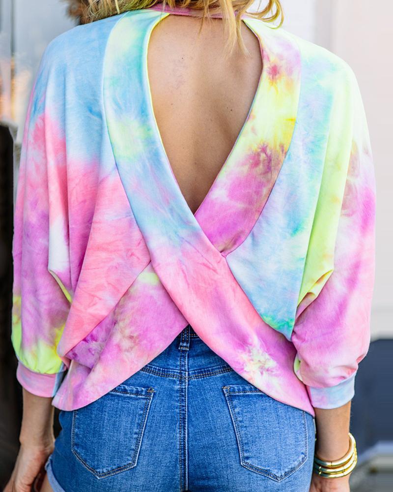 Tie Dye Print Crisscross Backless Top thumbnail