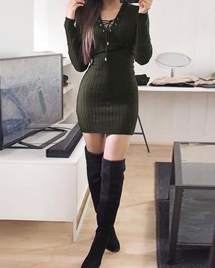 Ivrose coupon: Trendy Eyelet Lace-up Slinky Mini Dress