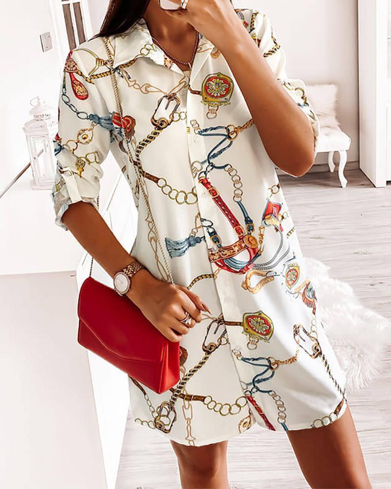 Chain Print Button Design Shirt Dress thumbnail