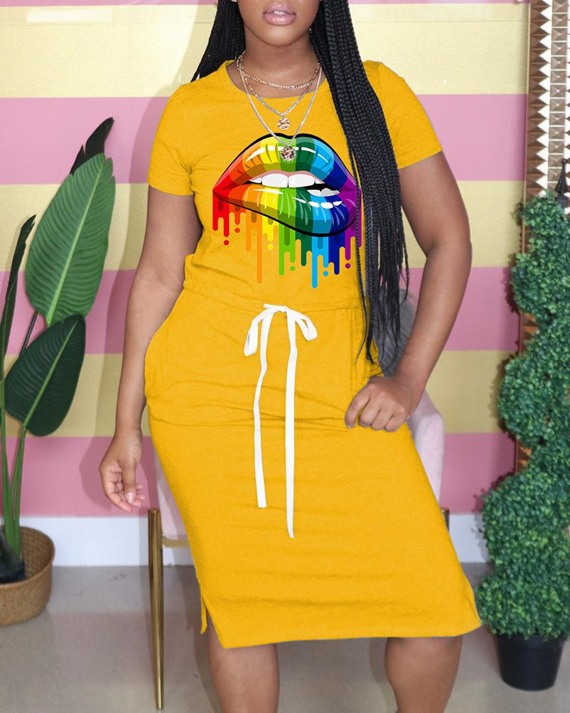 Lip Print Pocket Design Drawstring Casual Dress thumbnail