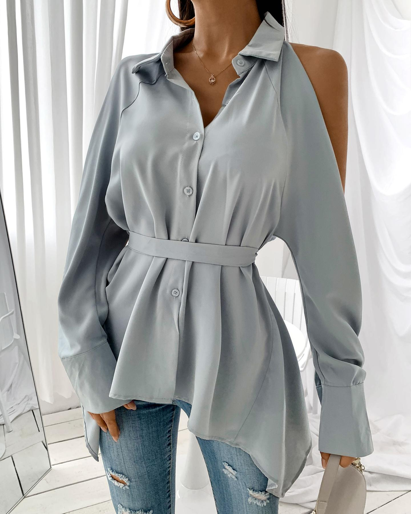 Cold Shoulder Button Design Cutout Back Shirt thumbnail