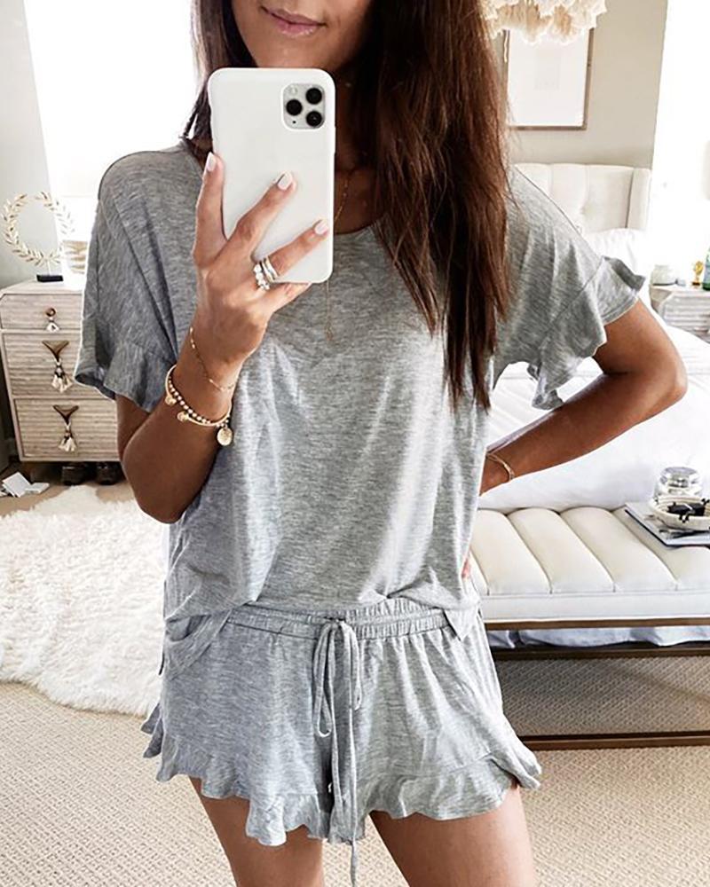 Short Sleeve Drawstring Ruffle Trim Pajamas Set thumbnail