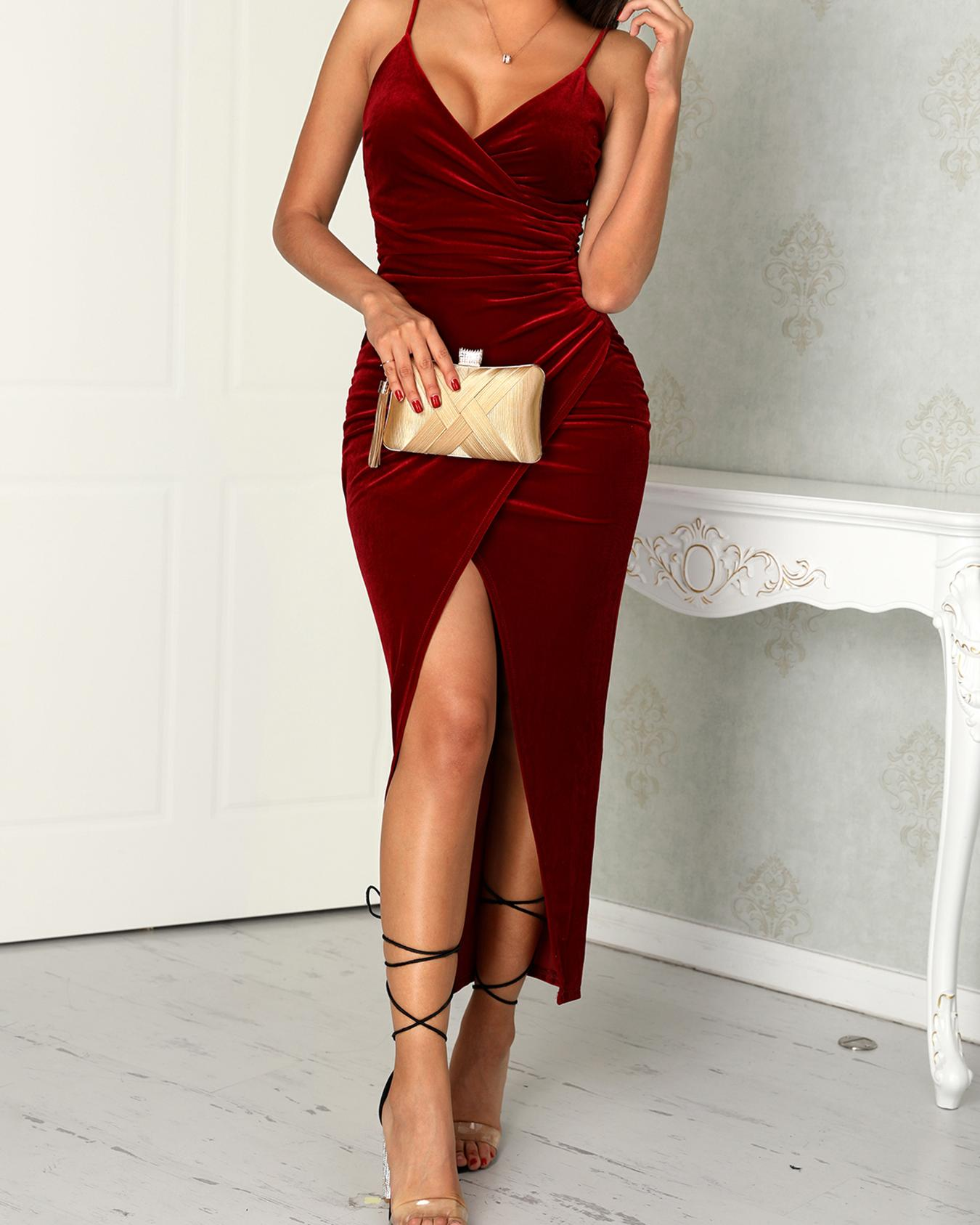 064e539a40 Spaghetti Strap Scrunhced Slit Dress Online. Discover hottest trend fashion  at chicme.com