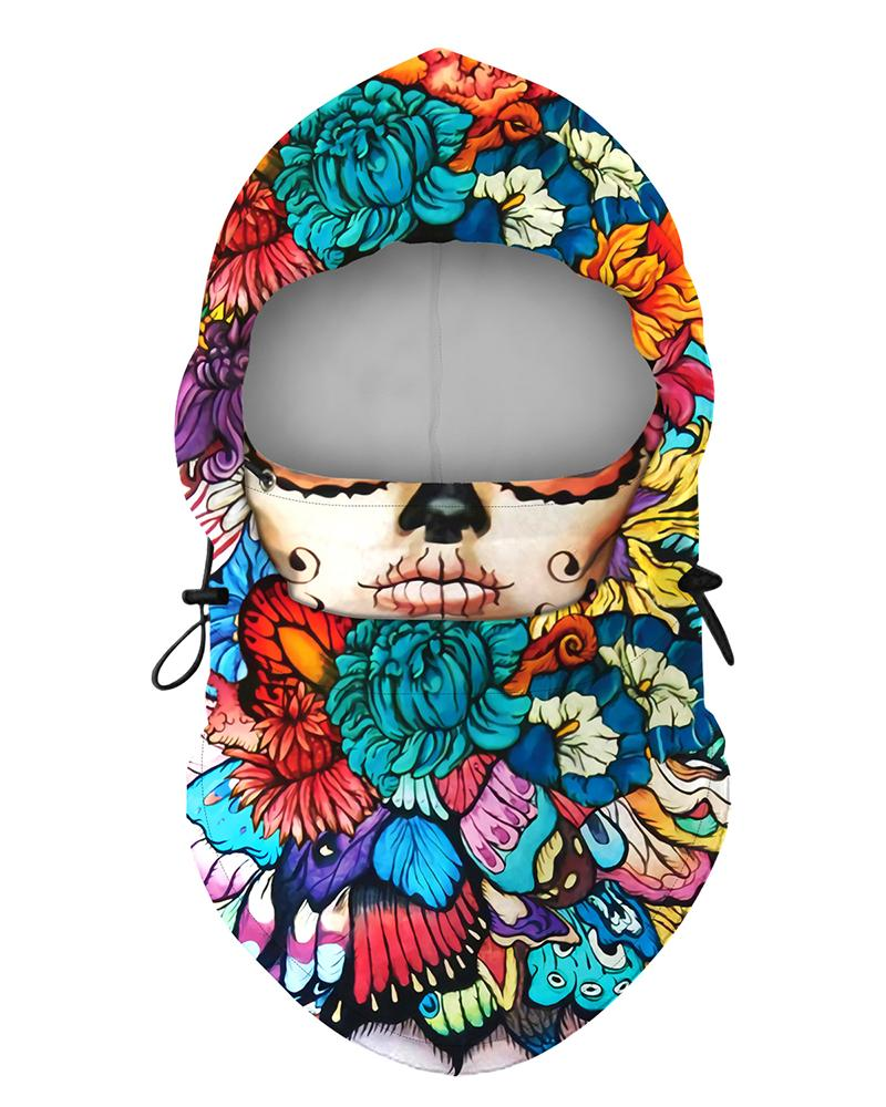 Face Floral Print Polar Fleece Hood Adjustable Face Bandana thumbnail