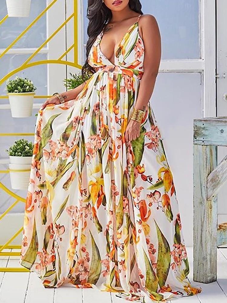 Floral Deep V Neck Backless Maxi Dress