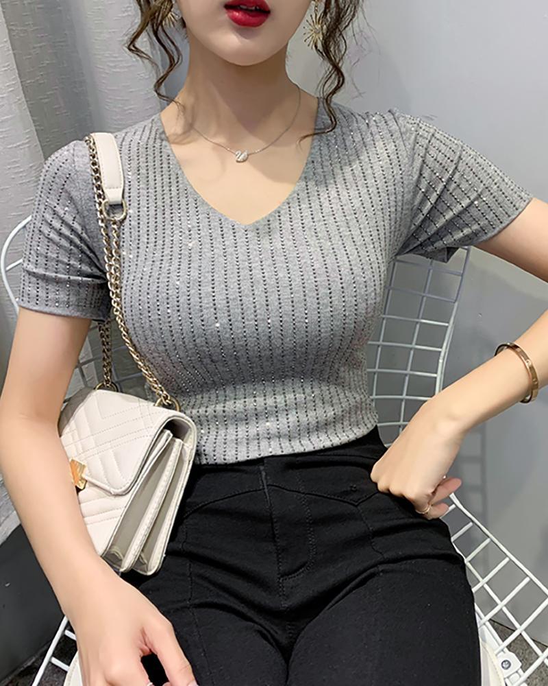 V-neck Short Sleeve Studded Blouse