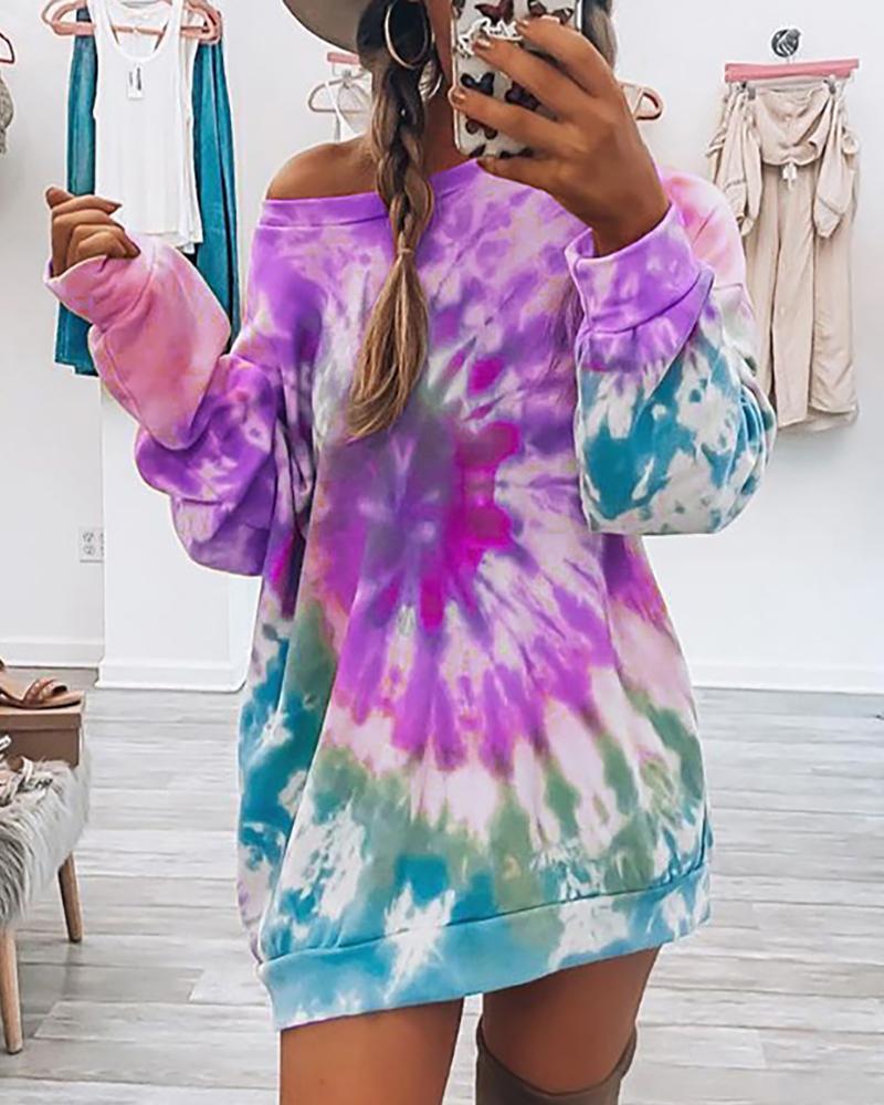 Tie Dye Print Long Sleeve Casual Top thumbnail