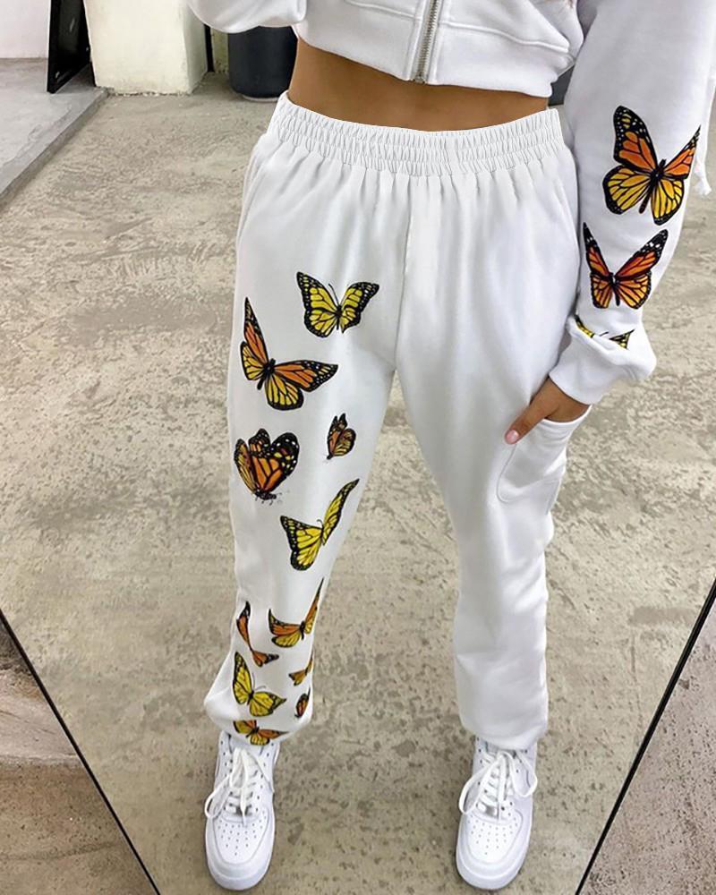 High Waist Butterfly Print Casual Pants thumbnail