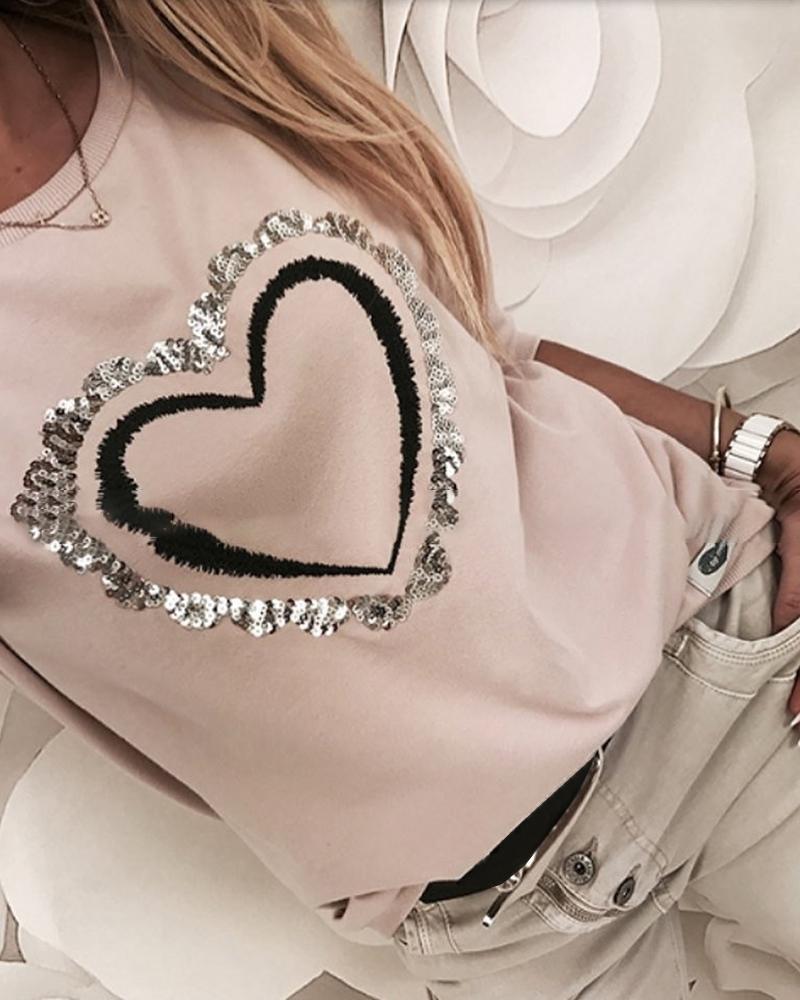 Sequins Heart Pattern Round Neck Long Sleeve Casual Sweatshirt