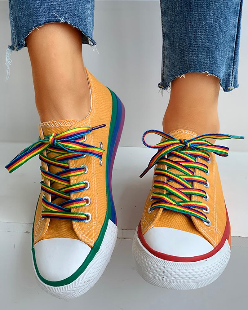 Colorblock Lace-Up Casual Sneakers thumbnail