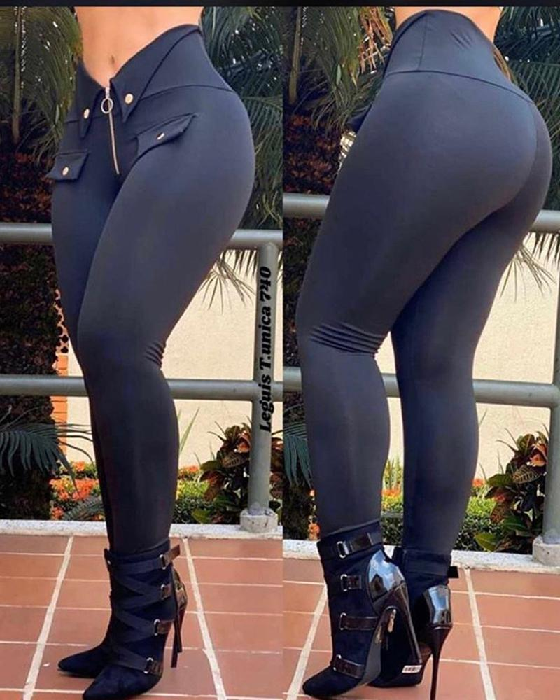 Zipper Design Buttoned Skinny Pants thumbnail