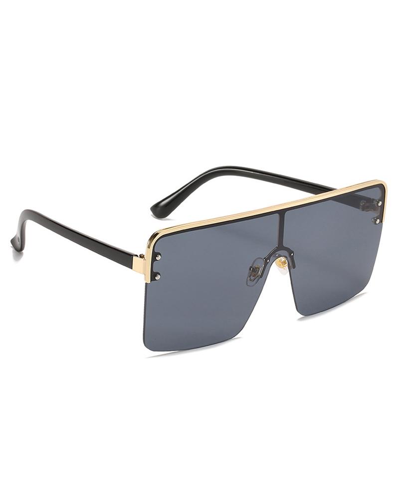 1Pair Half Metal Frame Ombre Lens Flat Top Sunglasses, Black