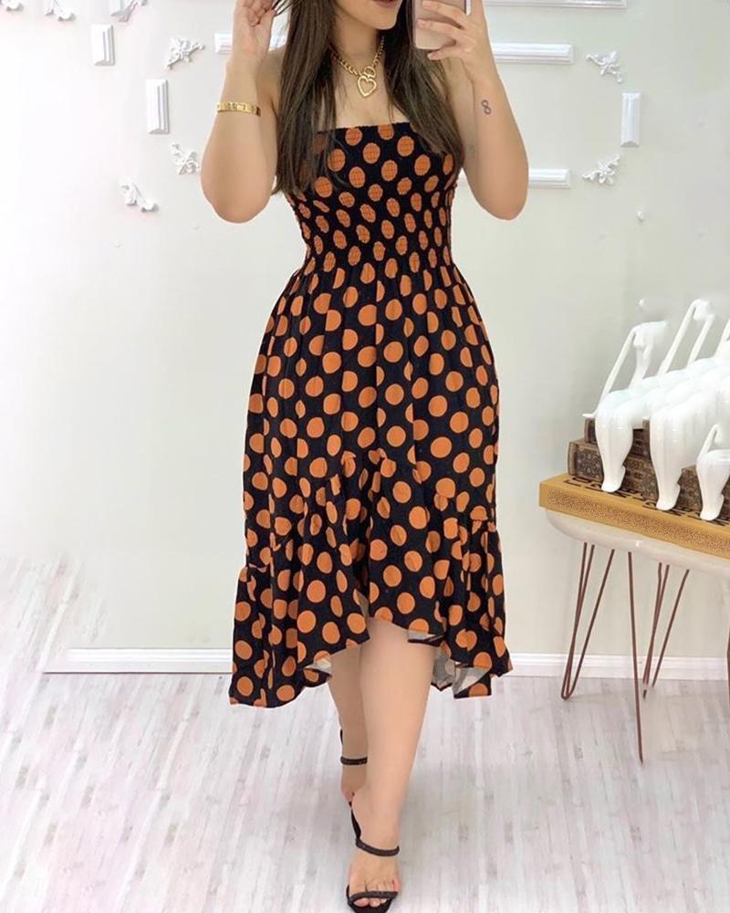 Bandeau Polka Dots Shirring Design Ruschenbesatz Unregelmassiges Kleid