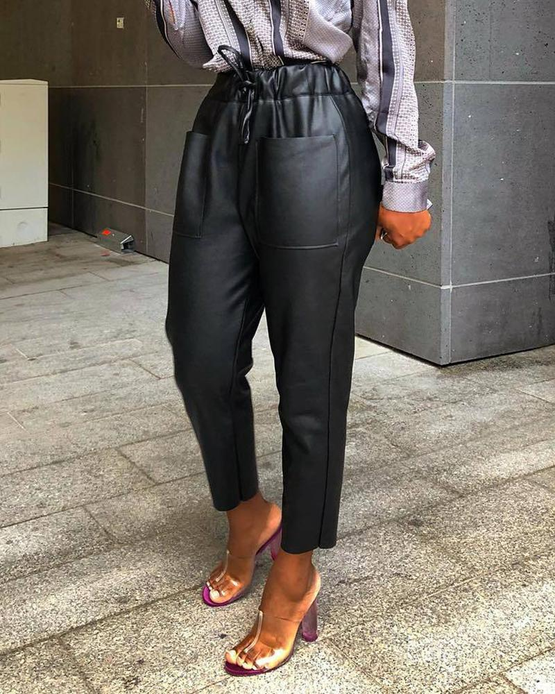 Pocket Design Drawstring PU Leather Pants thumbnail