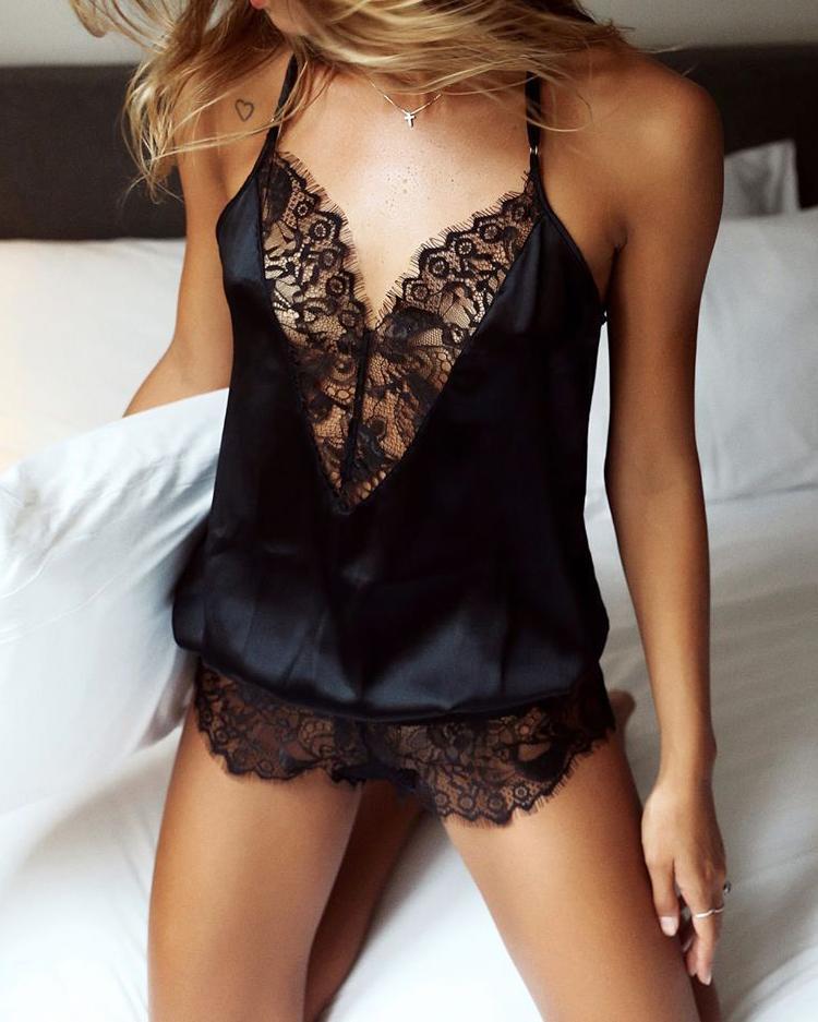 9269f99b69 Spaghetti Strap Lace Eyelash Teddy Lingerie Sleepwear Online. Discover  hottest trend fashion at chicme.com