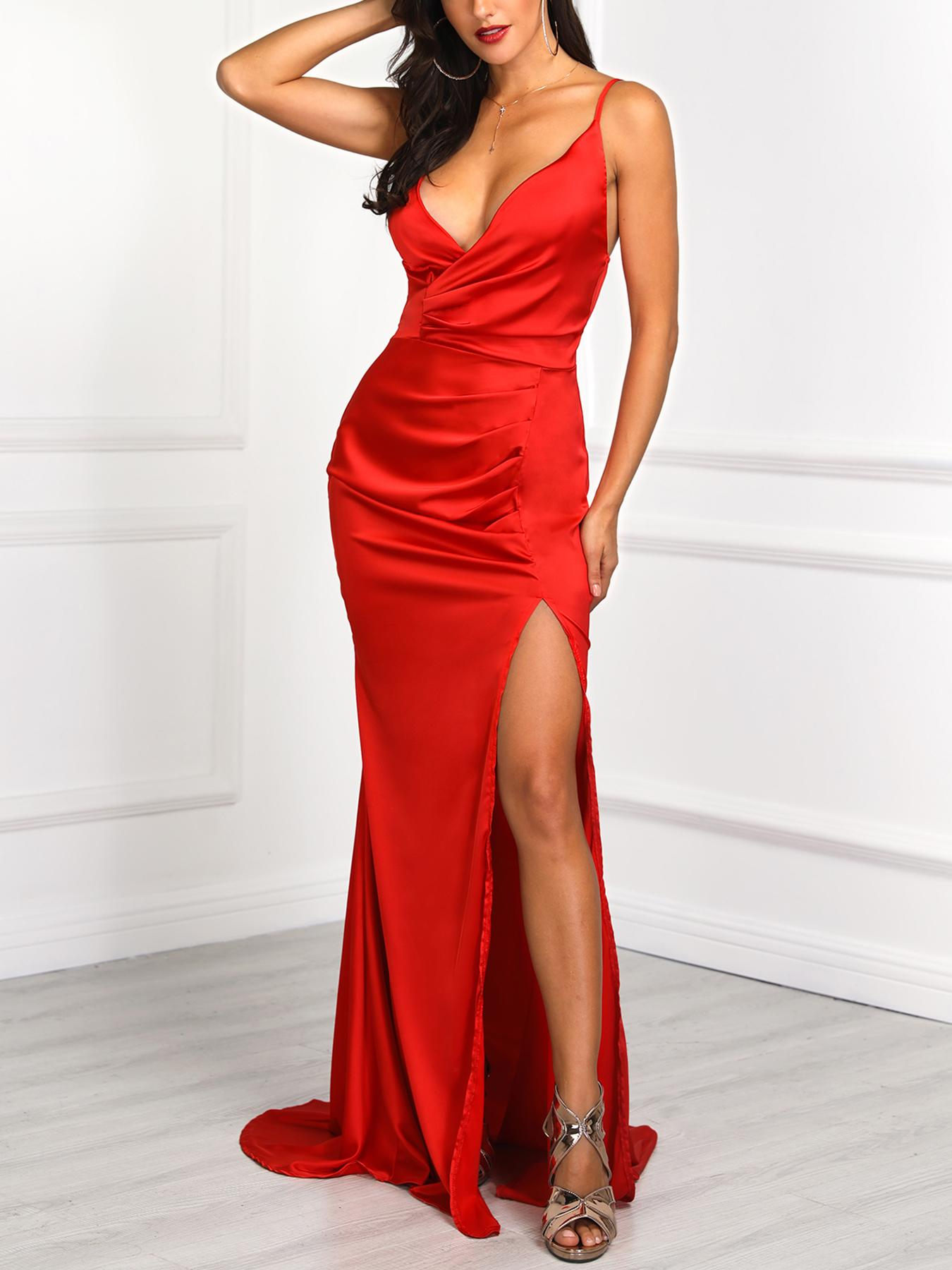 14e01aba3a28 Solid Spaghetti Strap Ruched Slit Bodycon Dress Online. Discover hottest  trend fashion at chicme.com