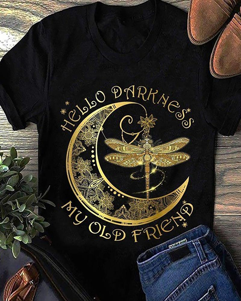 Dragonfly/Moon/Letter Print Short Sleeve Casual T-shirt thumbnail