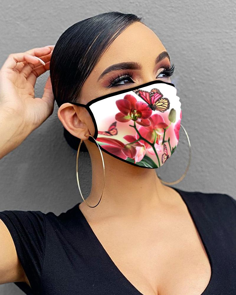 Butterfly / Floral Print Breathable Mouth Mask Washable And Reusable thumbnail