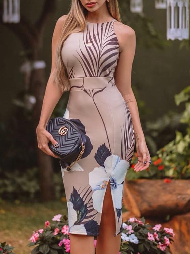 Floral Print Slit Side Bodycon Dress