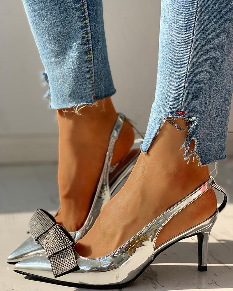 Pointed Toe Studded Bowknot Slingback Thin Heels