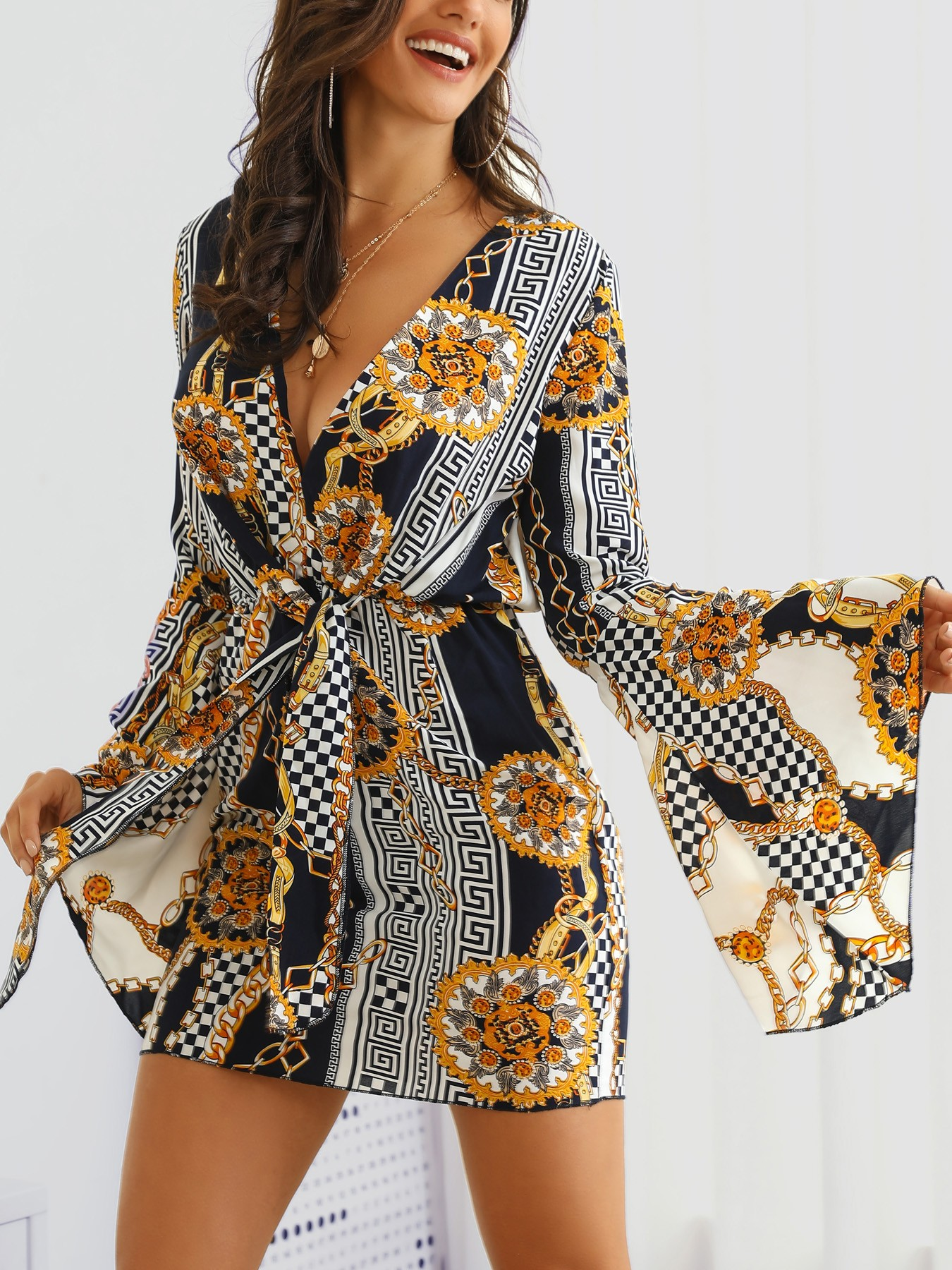 boutiquefeel / Bell Sleeve Mixed Print Knotted Front Dress