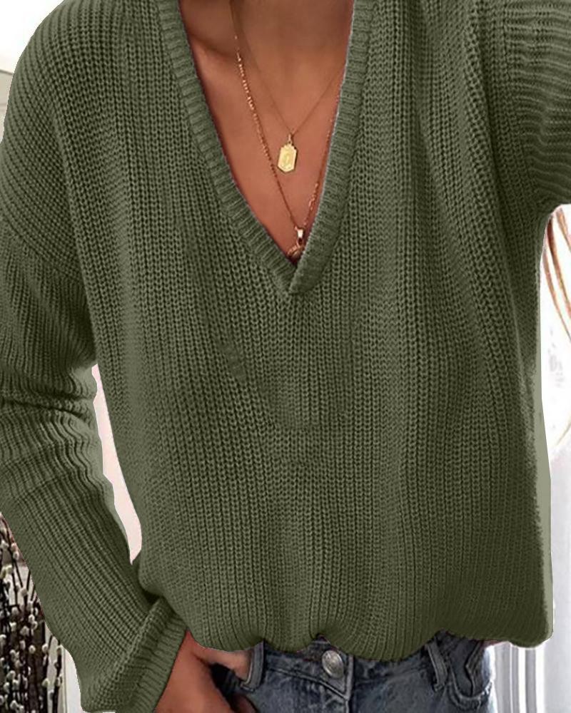 Solid Plunge Long Sleeve Knit Sweater thumbnail