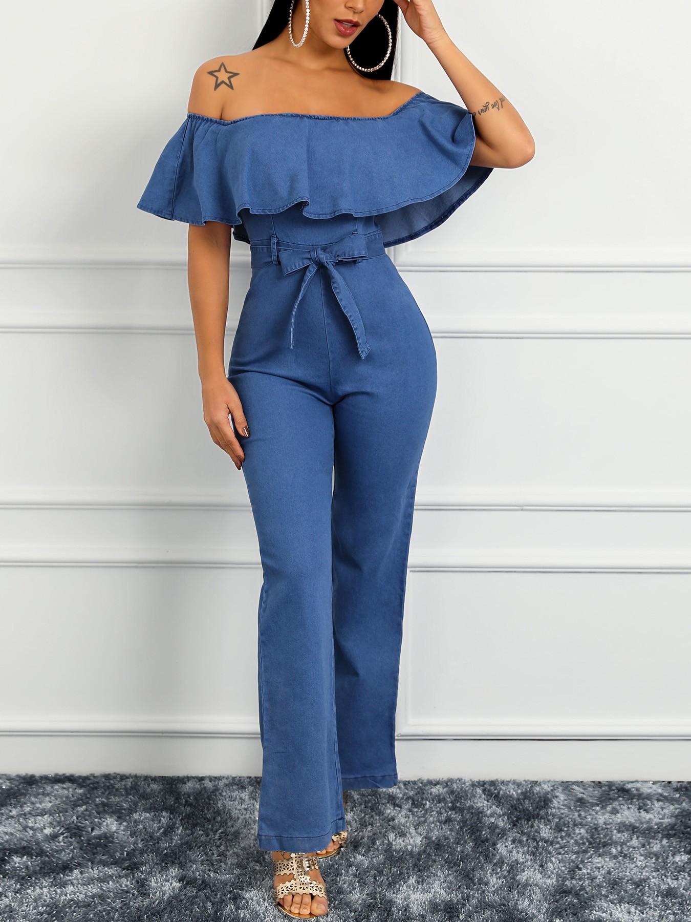 boutiquefeel / Ruffles Off Shoulder Belted Denim Jumpsuit
