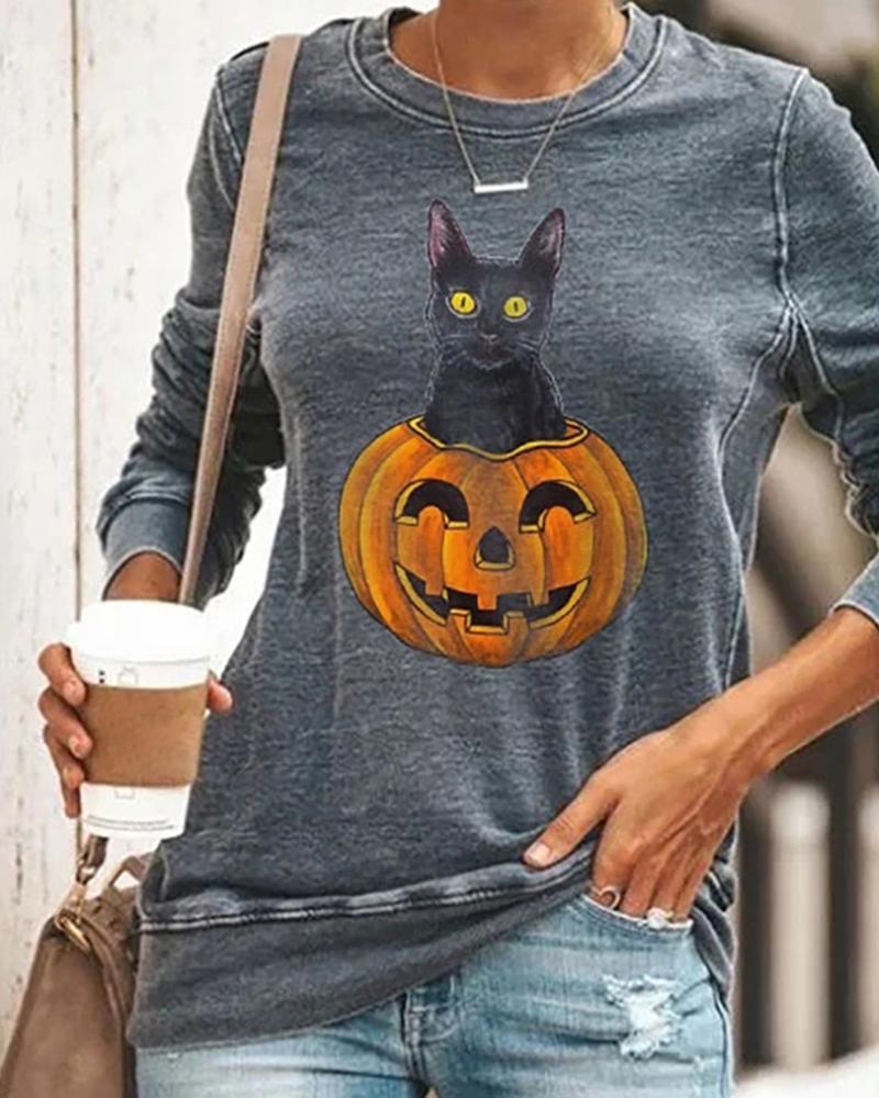 Halloween Pumpkin Head Smiley Cat Print Sweatshirt thumbnail