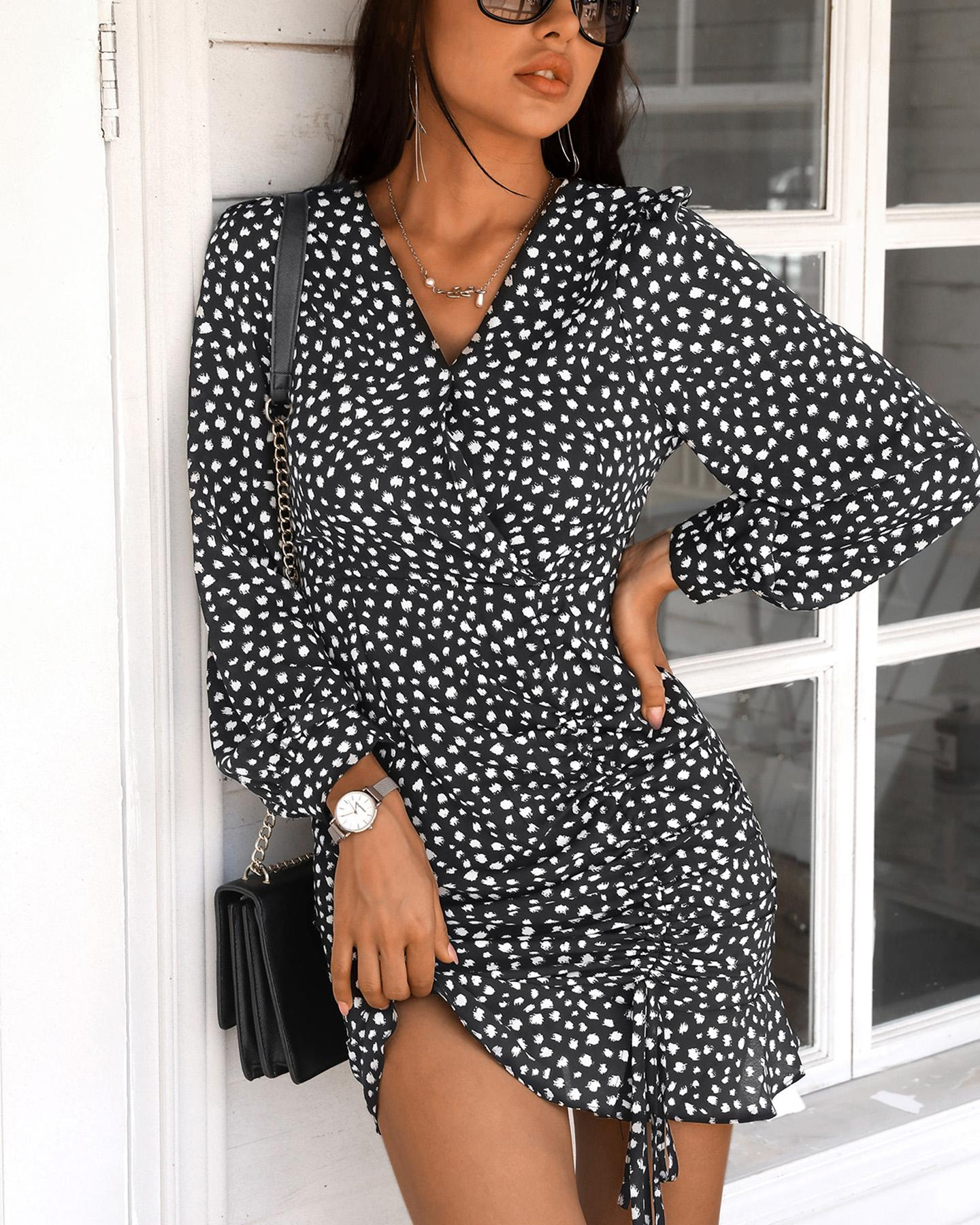 Polkadot Print Long Sleeve Ruffles Dress thumbnail