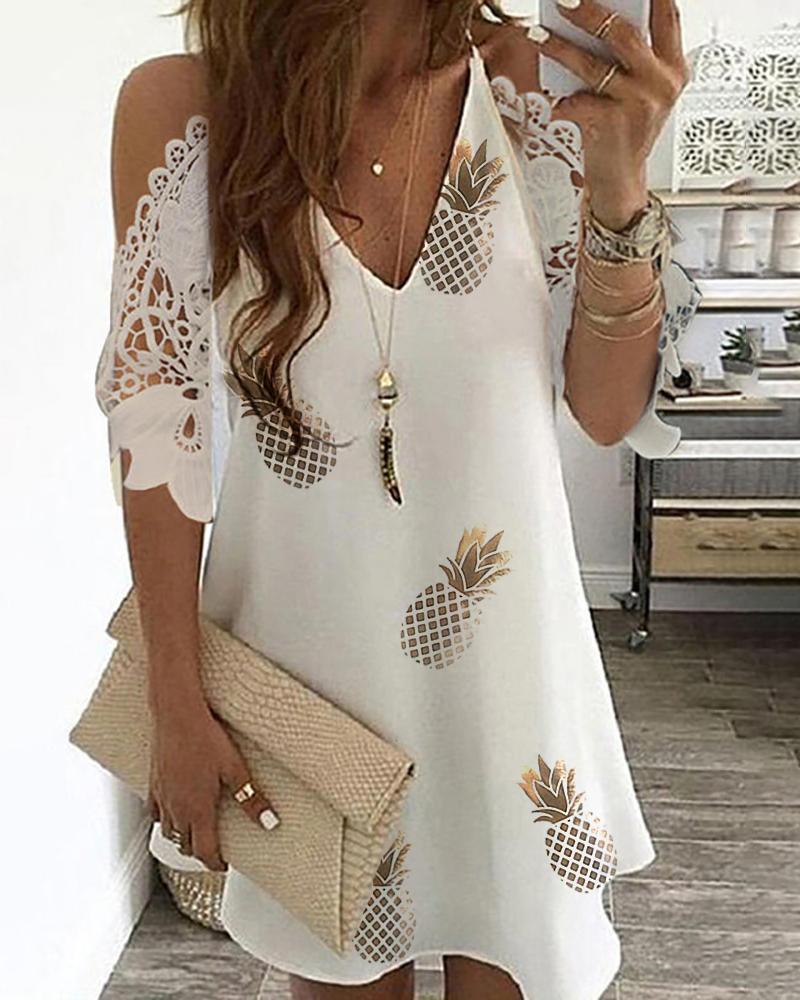Pineapple Print Cold Shoulder Crochet Lace Dress thumbnail