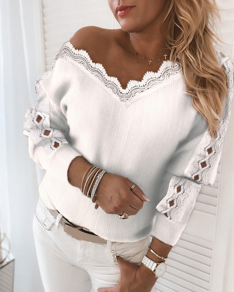 Lace Trim Ribbed Cutout Long Sleeve Sweater thumbnail