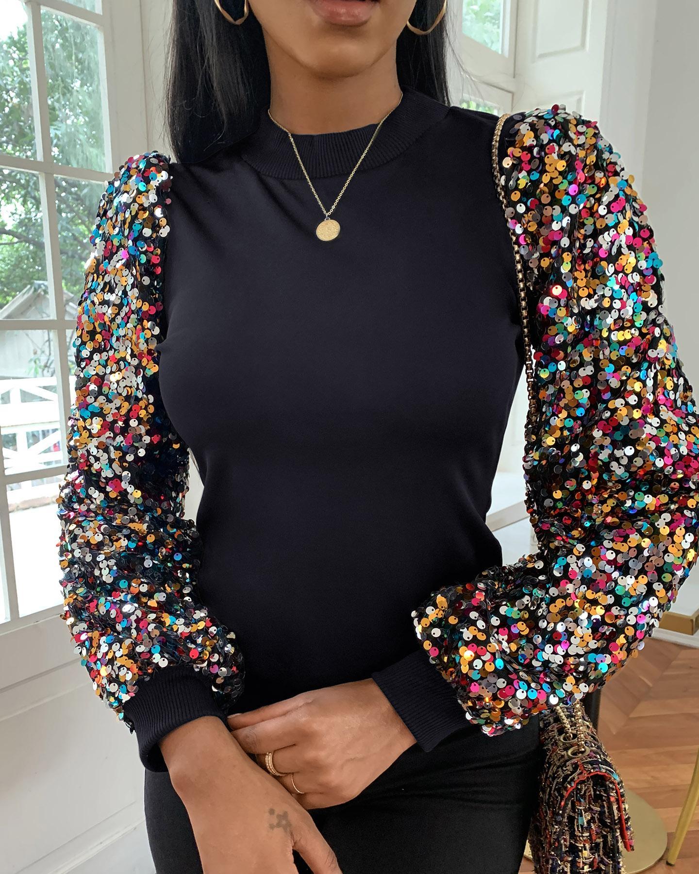 Mock Neck Lantern Sleeve Sequins Colorblock Insert Blouse thumbnail