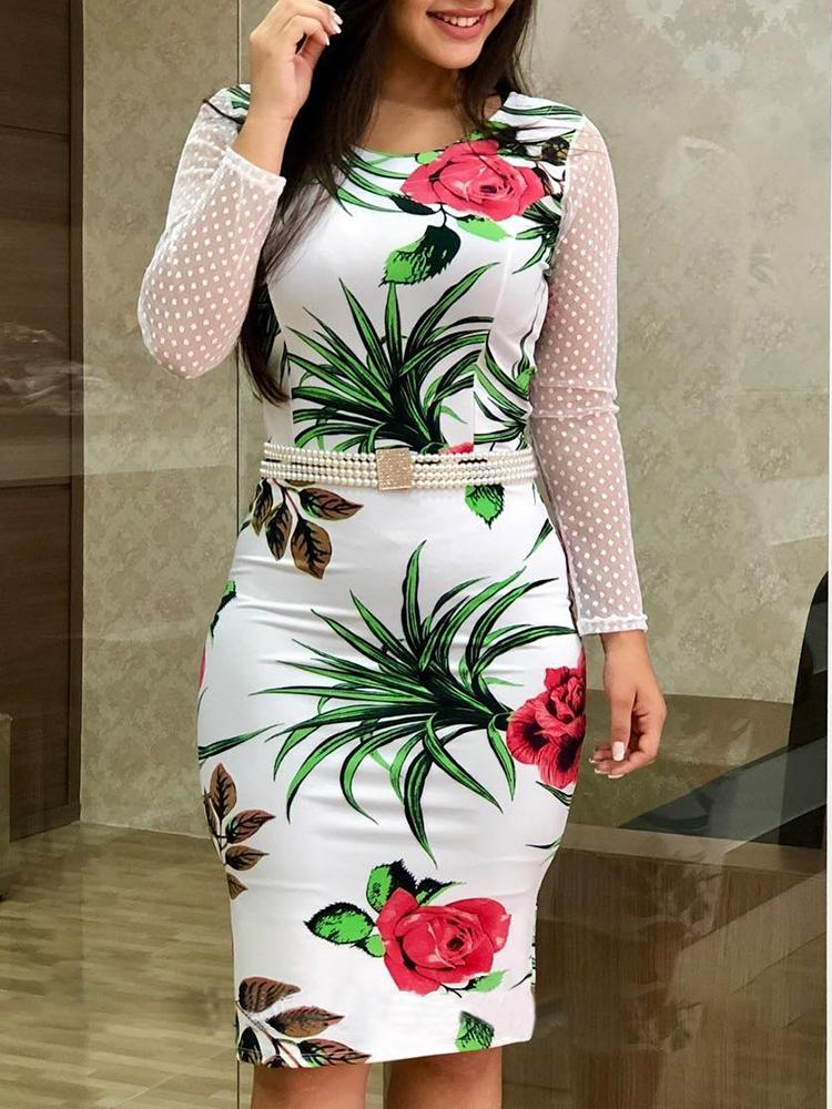 Floral Print Mesh Patchwork Bodycon Dress
