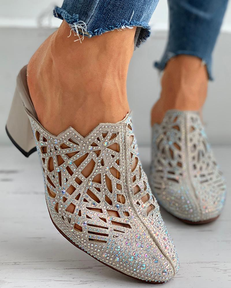 Studded Cutout Close Toe Chunky Heels thumbnail
