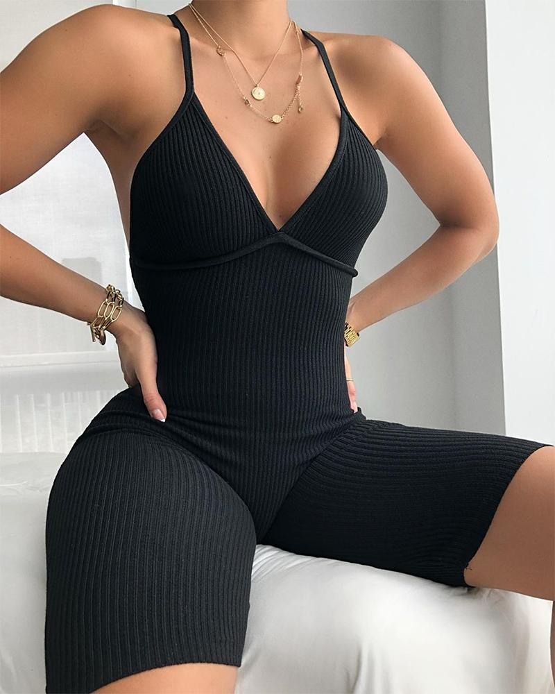 Spaghetti Strap Ribbed Fitted Romper thumbnail